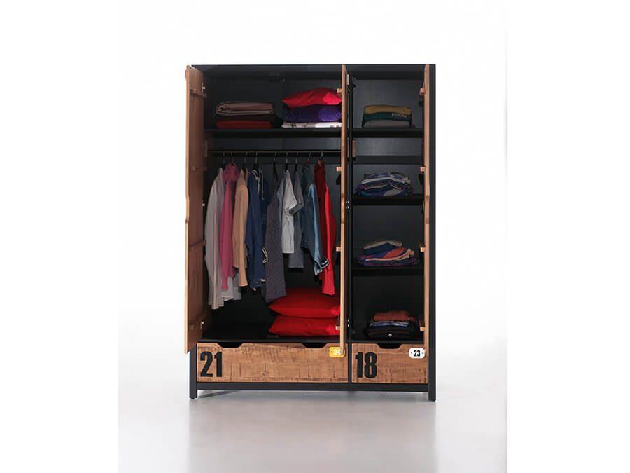 AXKL1319-Vipack-Alex-3deurs-kledingkast-open