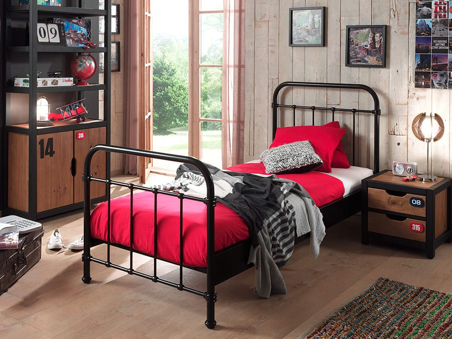 NYBE9018-Vipack-New-York-metalen-bed-zwart1