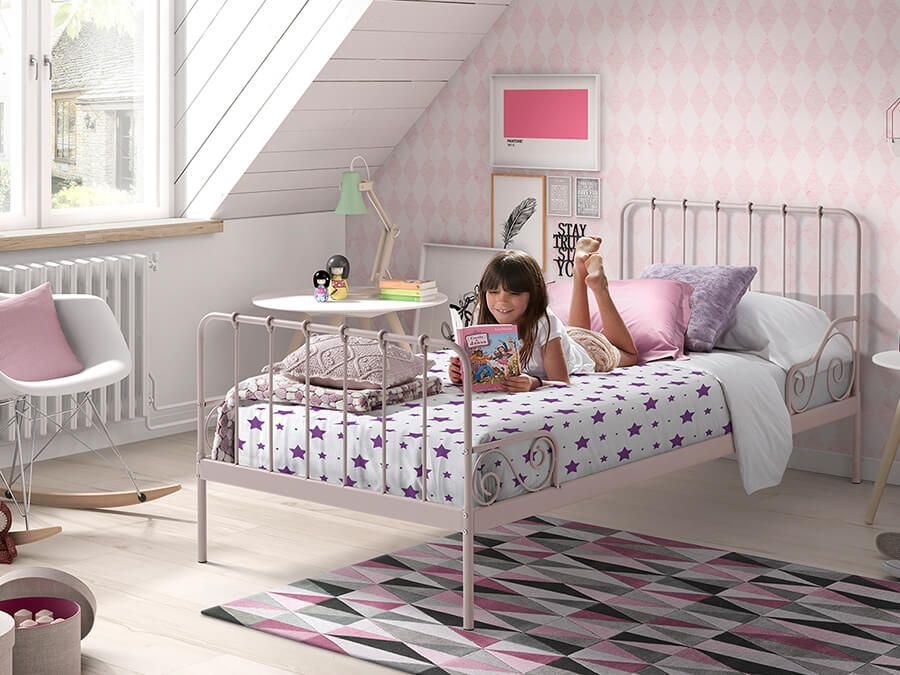 ACBE9013 Vipack Alice metalenbed roze2