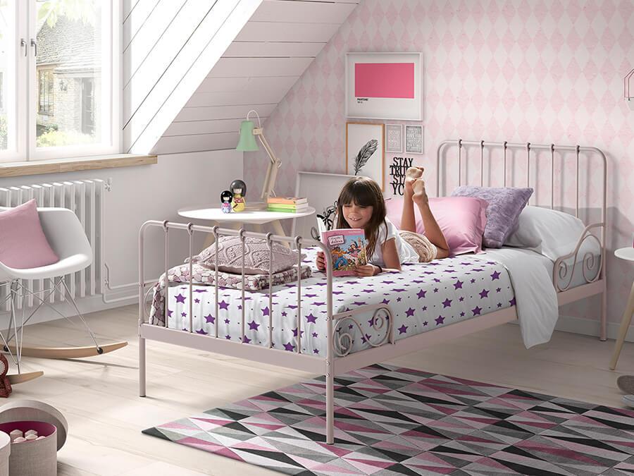 ACBE9013 Vipack Alice metalenbed roze2