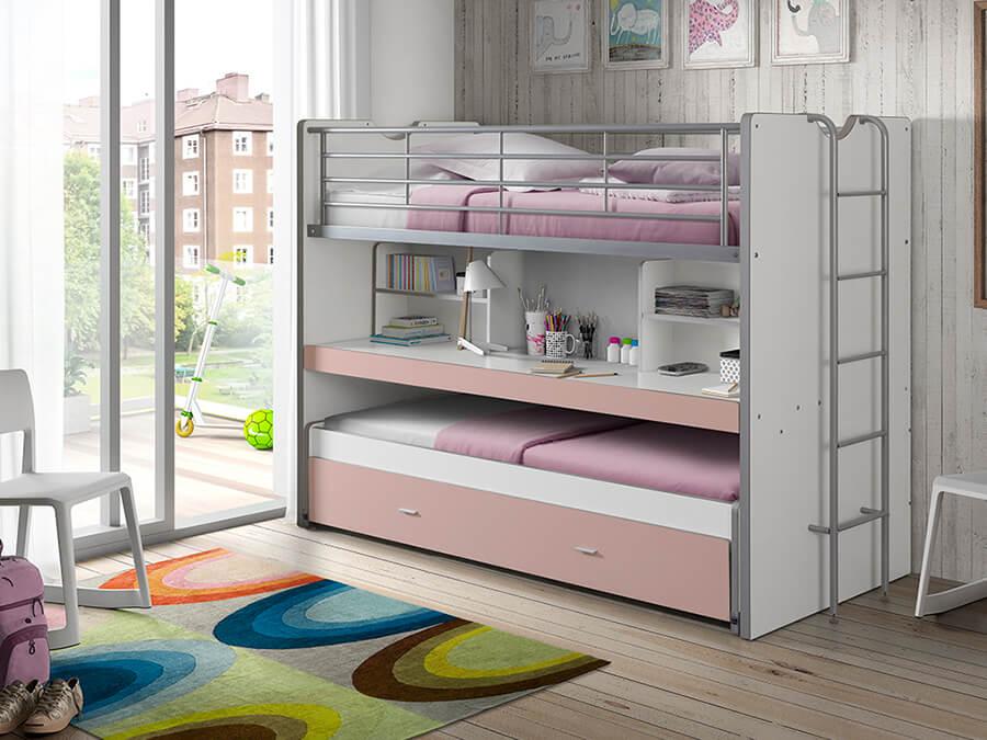 BONHS8015 Vipack Bonny 80 Stapelbed bureau roze2