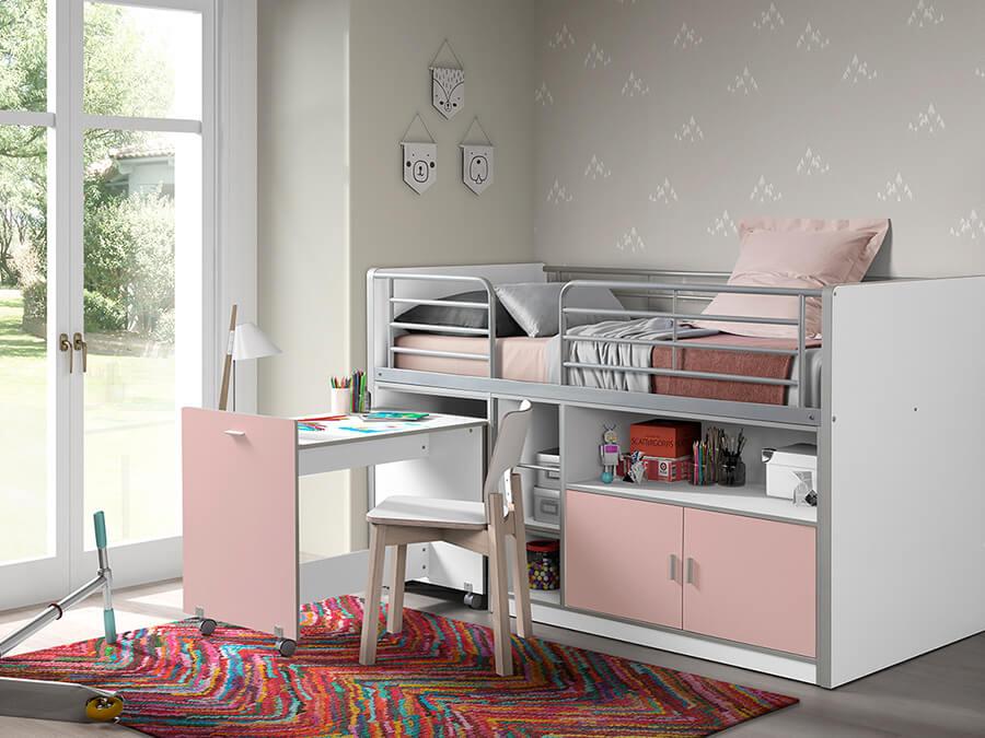 BONHS9115 Vipack Bonny 91 Halfhoogslaper bureau roze2