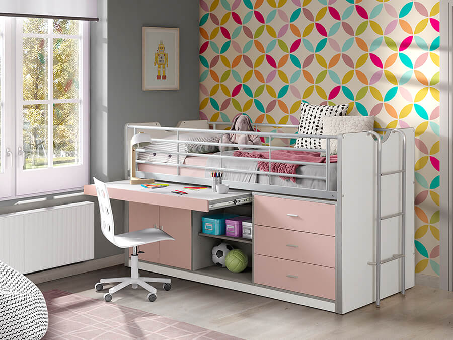 BONHS9515 Vipack Bonny 95 Halfhoogslaper bureau roze2