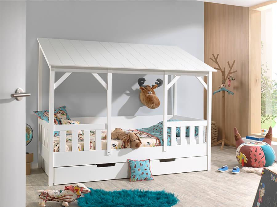 HB900314 Vipack Housebeds 03 wit dak met lade