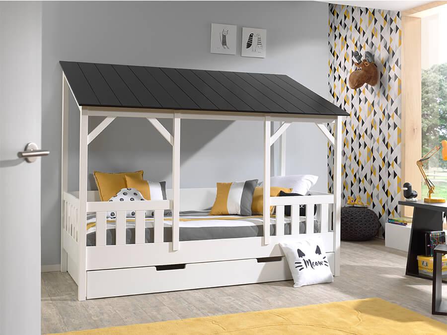 HB900318 Vipack Housebeds 03 zwart dak met lade