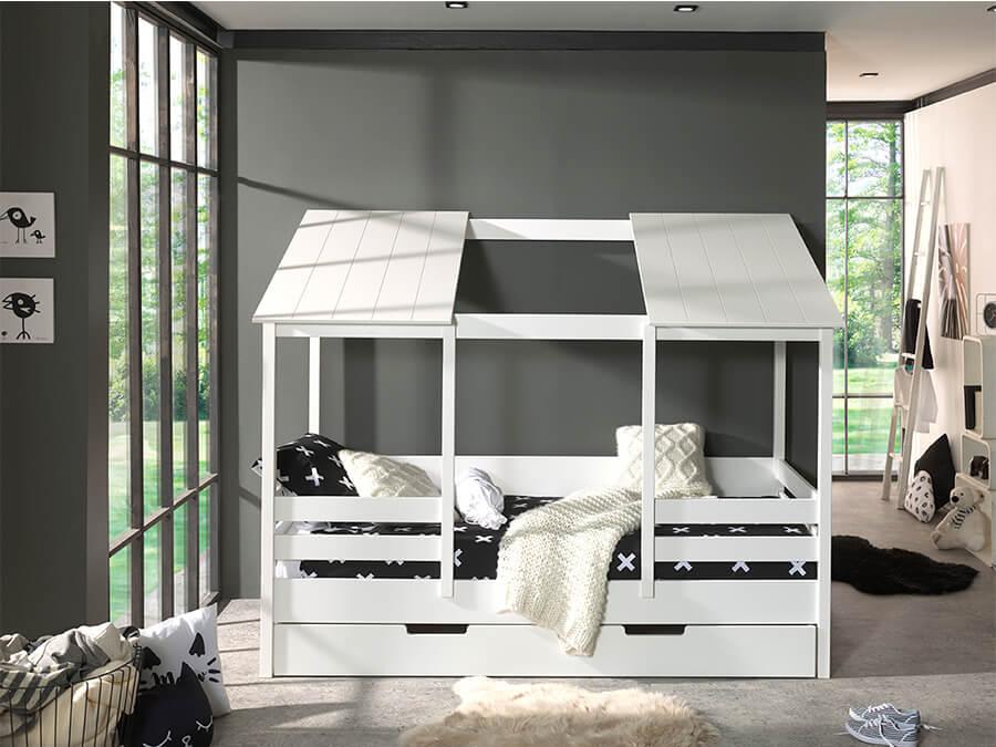 HB900914 Vipack Housebeds 09 wit dak met lade 1