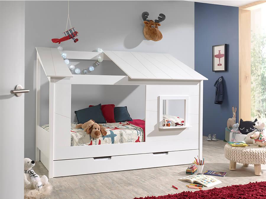 HB902614 Vipack Housebeds 26 wit dak met lade