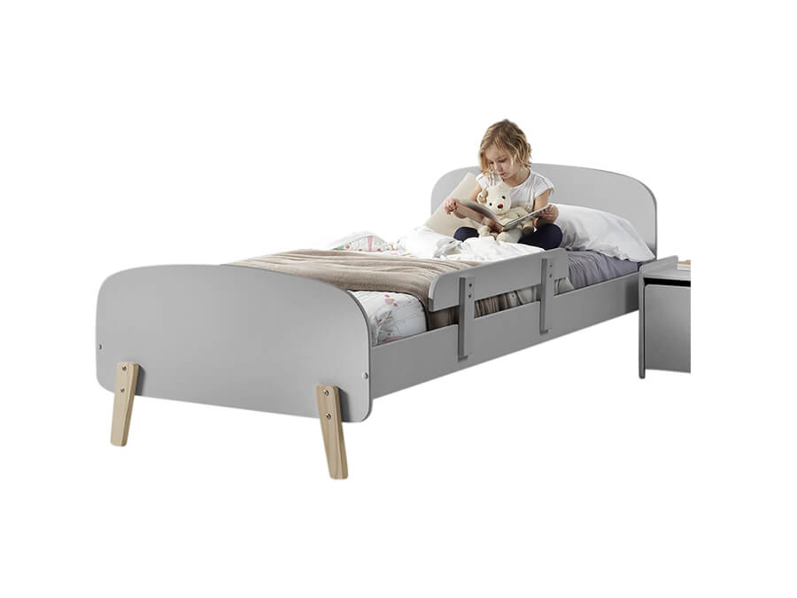 KIBE9015 Vipack Kiddy bed grijs met uitvalbeveiliging