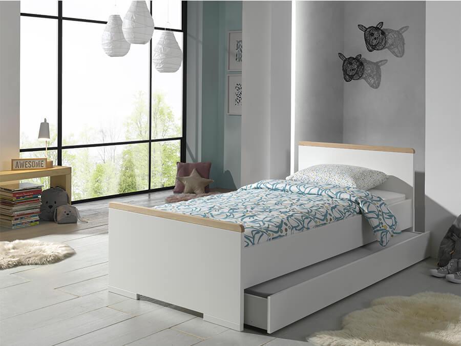 LDBE9014 Vipack London bed 90x200 wit met lade