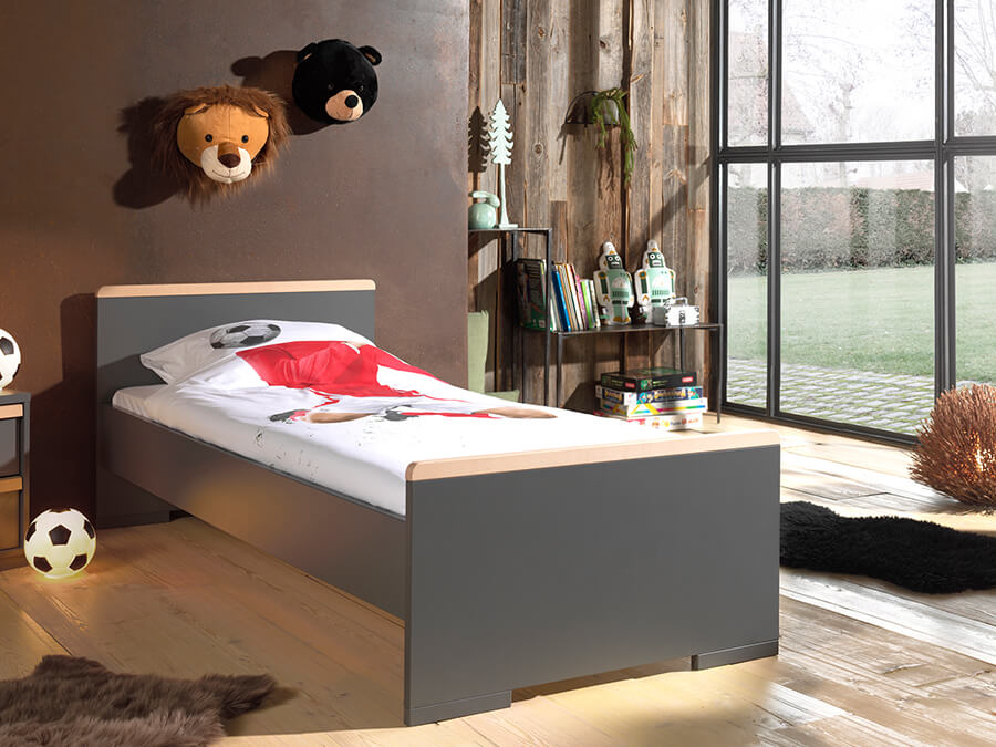LDBE9080 Vipack London bed 90x200 antraciet 1