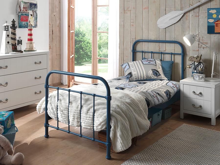 NYBE9007 Vipack New York metalen bed blauw1