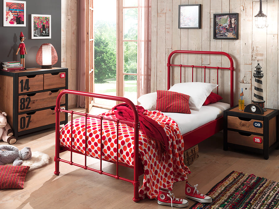 NYBE9020 Vipack New York metalen bed rood1