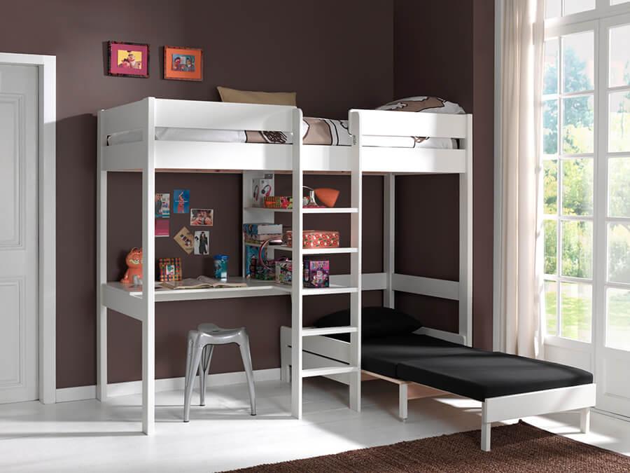 PIOLZB14 Vipack Pino hoogslaper bureau zetelbed wit2