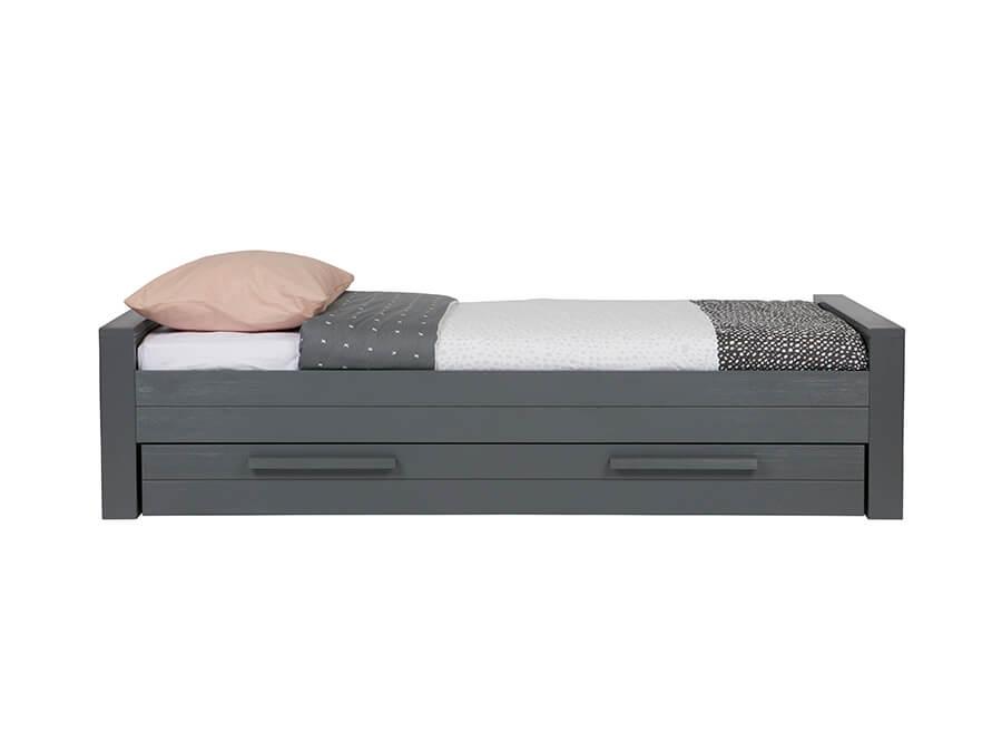 woood dennis bed grenen steel grey lade