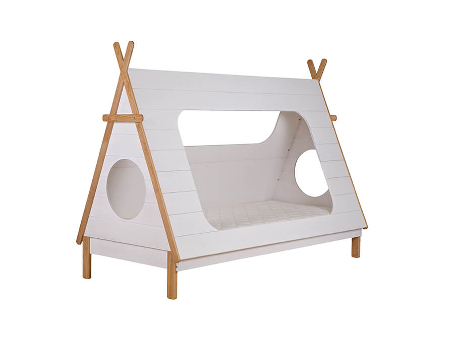 woood tipi bed grenen wit1