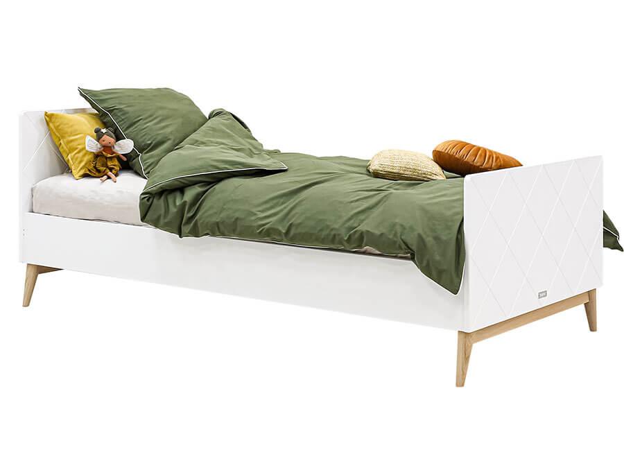 15419351-Bopita-Paris-bed-90x200-wit-eiken-opgemaakt