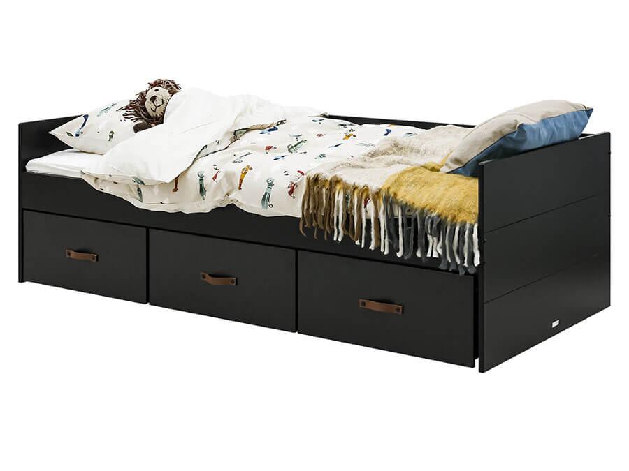 26919719-Bopita-Floris-bedbank-90x200-mat-zwart-opgemaakt