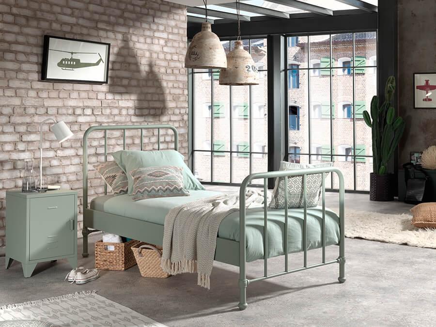 BRBE9093-Vipack-Bronxx-Bed-90X200-Olive-Green-sfeer