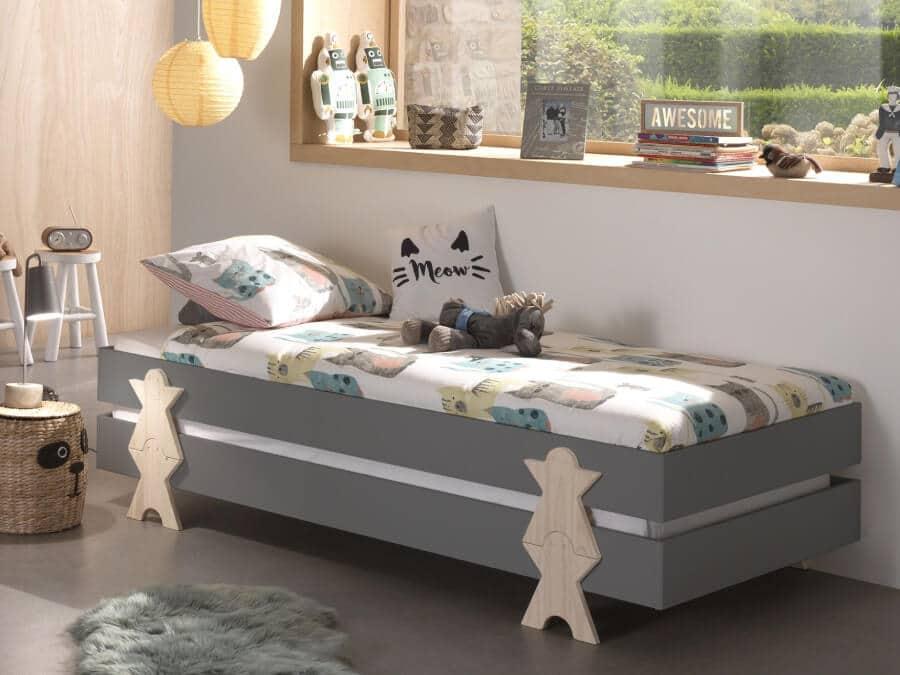 Vipack-Modulo-bed-Smiley-grijs-gestapeld