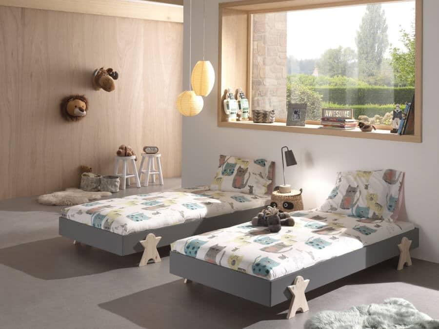 Vipack-Modulo-bed-Smiley-grijs-twee-bedden